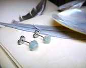 The Sea Song Aquamarine Earrings. Rough Petite Raw Aquamarine and titanium post Stud Boho rustic earrings. -no.1 Stone Temples Collection