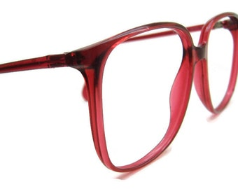 Vintage Tura Big Lens Red Cateye Eyeglasses Eyewear Frame