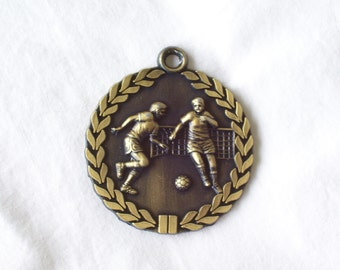 PERSONALIZED SOCCER MEDAL with neck ribbon goldtone male and female players