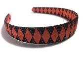 "Black & Orange Stitch 1"" Woven Headband - Handmade Ribbon Braided Headband - Made To Order - Halloween Headband"