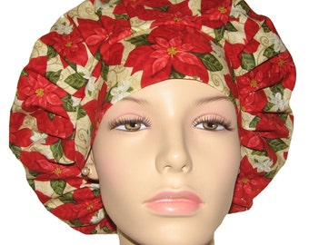 Winter Bliss Packed Red Poinsettias-ScrubHeads-Scrub Hats-Scrub Caps-Holiday Scrub Hats-Surgical Hat-Surgical Cap-Women's Scrub Hats-Gift