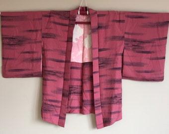 1950s HAORI KIMONO Japanese Cropped Jacket BOHO Dark Pink