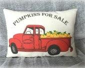Vintage Red Truck | Pumpkin Truck | Red Truck | Harvest pillow | Pumpkin harvest | Pumpkins for Sale | Antique Truck
