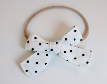 Petite Peanut Bitty Bow Headband - Black and White Textured Dot - Baby Girl Toddler - (Made to Order)