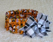 """Custom for Margrit - Halloween Magic Parade Dog Collar Scrunchie - big plaid bow - Size M: 14"""" to 16"""" neck"""