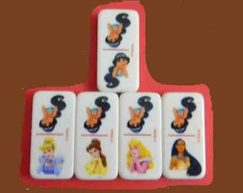 5 Jasmine Disney Dominoes. 5 Disney Game Pieces for Jewelry Making, Crafts, Etc. 4383