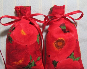 "Memorial Day Red Poppies 3""X2"" Sachet-'Apple Red Orchard(type)' Fragrance-Unisex-Cotton Botanical/Herbal Sachet-Cindy's Loft-137"