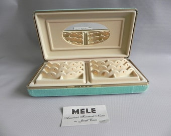 Turquoise Velvet Jewelry Travel Storage Box. 2 Removable Trays. Mele Brand, New with Tag. Aqua or Teal Color.