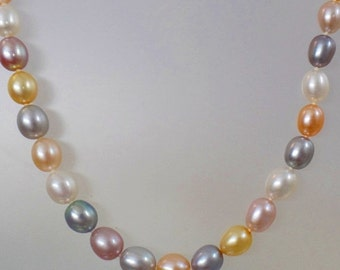 FALL SALE Vintage Multi Color Freshwater Pearl Necklace.  Sterling Silver Clasp. Pink, White, Yellow, Gray, Purple Genuine Pearls.
