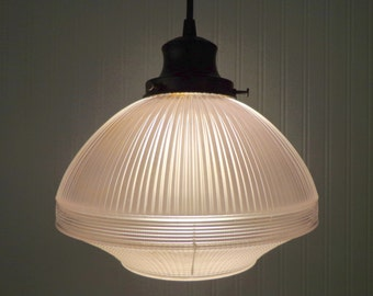 Industrial Rustic Large HOLOPHANE Pendant Modern Repurposed Factory Lighting Fixture