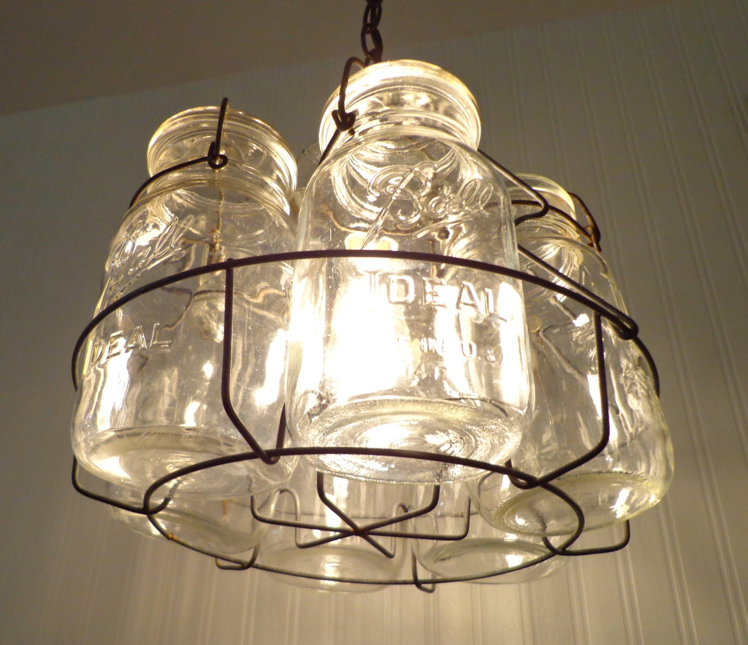 Edison Bulb Chandelier Mason Jar Lighting Mason By: Vintage Mason Jar Basket CHANDELIER Light Fixture By LampGoods