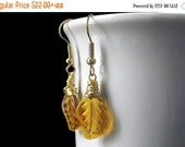 VALENTINE SALE Amber Leaf Earrings, Wire Wrapped in Gold. Handmade Jewelry