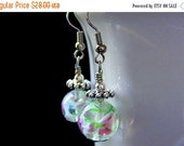 VALENTINE SALE Lampwork Earrings. Flower Earrings, Beaded Earrings with Pink Flowers - Peony Petals in Air. Handmade Earrings.