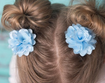 Light Blue hair clip, piggy tail hair, flower hair accessory, girl birthday gift, cake smash outfit, toddler hair clips, baby shower gift