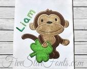 Shamrock Monkey Applique for Boys