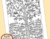 Psalm 1, Be Like a Tree, Bible Journaling Color Your Own INSTANT DOWNLOAD Art Print Coloring Page Printable Christian Religious