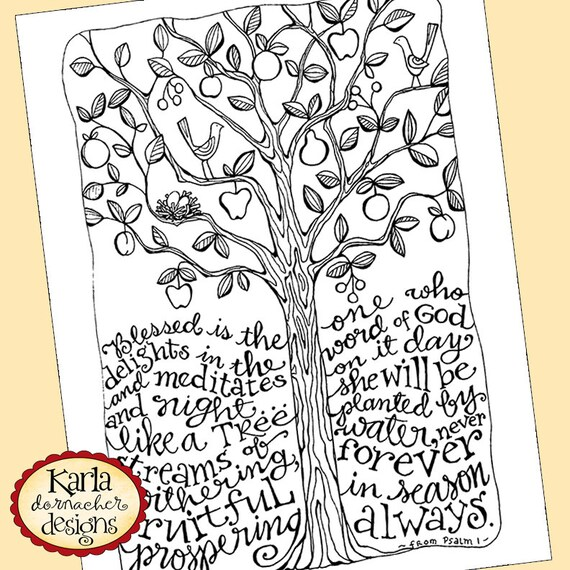 Psalm 1 Be Like A Tree Bible Journaling Color By