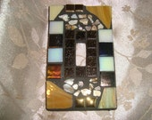 MOSAIC LIGHT SWITCH Plate, Single Switch, Earth Tones, Wall Art