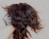 Doll Hair on the pelt black long 9 in angora mohair locks/ reroot/ BJD/ Reborn/ Blythe Doll/ pullip/ wig bjd la fiaba russa, weft mohair