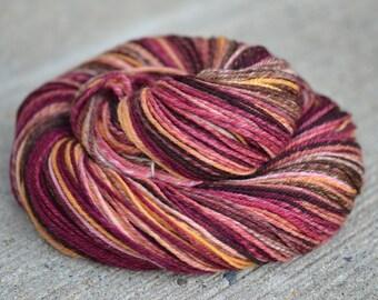 Chocolate Raspberry Swirl - superwash merino n-ply/chain-ply handspun yarn - sport weight, 252 yards