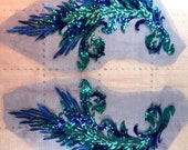"""GB419 Embroidered Appliques Blue Turquoise Sequin Mirror Pair Wing Dance Patch 16"""" (GB419X-bltr)"""