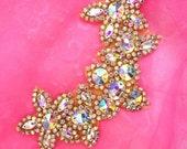 """N88 Gold Yoke Collar Aurora Borealis Rhinestone Applique 6.75"""" (N88-glcab)"""