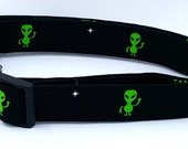 Out Of This Galaxy Green Aliens and White Stars On Black Dog Collar