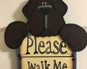 Adorable Brown Dog Please Walk Me Hand-painted Leash Holder