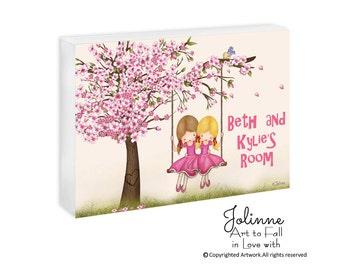 Personalized kids room door sign , cherry Blossom Custom Door Sign, Nursery Baby Name Sign, Girls  Art, Door Decor Custom hair Skin color