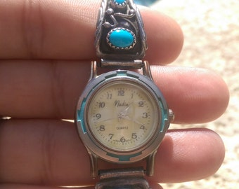"Running Detailed Vintage ""Nadia"" Face Navajo Turquoise and Sterling Watch Signed Sterling R.B.~"