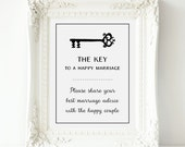 Wedding Advice Sign, The Key To A Happy Marriage Advice Sign - PRINTABLE Instant download, Newlyweds Advice, Happy Marriage Sign, 3 Sizes