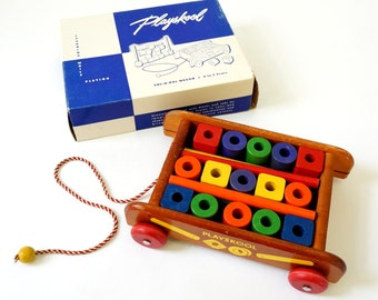 Vintage 1950s Playskool Col-O-Rol Wagon in Box VGC / Wood Blocks, Primary Colors / Building Blocks Pull Toy