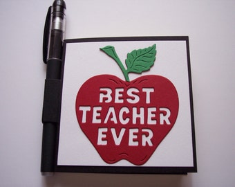 Best Teacher Ever Post It Note Holder Red Apple With Gel Pen