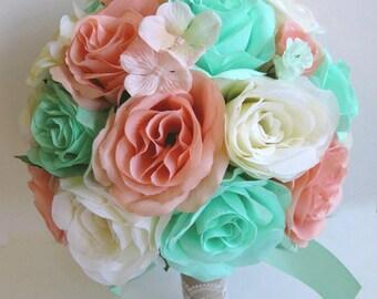 "Reserved listing Wedding bouquets Silk flowers bouquet Bridal MINT PEACH CREAM 2 piece Package Bride Silk flower  ""RosesandDreams"""