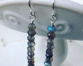 Faceted Labradorite Sterling Silver dangle earrings drop dangle rondel earwire gemstone gift giftbox handmade wire wrapped blue