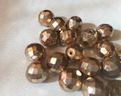vintage large metallic beads  Gold tone 1940s made in Germany glass 12mm set of 5