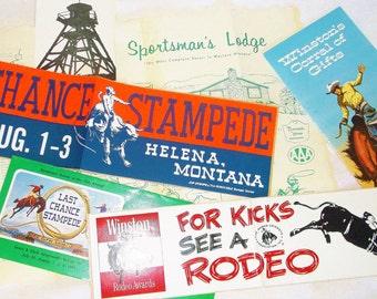 Vintage 70s LAST CHANCE STAMPEDE Paper Ephemera Lot • Helena, Montana, Winston cigarette ad