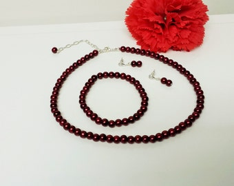 Red Wine Pearl Necklace Set - Bridesmaid Jewelry Set - Flower Girl Pearl Gift Set - Bridal Set - Prom Jewelry - Classic 3 Piece Set