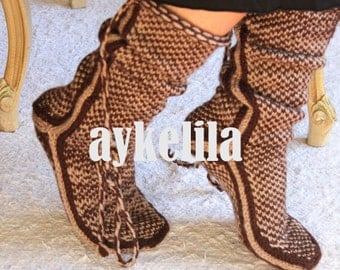 Chocolate, Warm Long Slippers, Handmade Slippers, House Slippers, Mukluk, Women Slippers