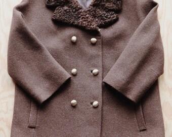 Vintage Fur Collar Silk-Lined Chocolate Brown Wool Coat Swing Jacket