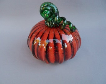 Glass Pumpkin,Art Glass, Hand Blown, Curly Stem,Halloween - Reserved for Gillian