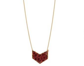 Chevron Leather Necklace in Rogue | R15-N11 Rogue