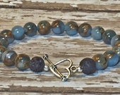 Diffuser Bracelet for Essential Oils~ Lava and Brown and Blue Imperial Jasper Gemstones Bracelet~ Toggle Clasp