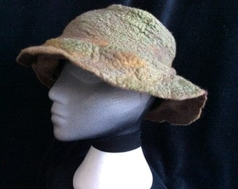 Hand made wet felted merino wool and silk mawata slouchy bucket hat