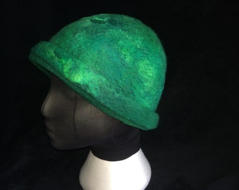 winter hat Emerald green merino wool and silk cloche style wet nuno felted hat
