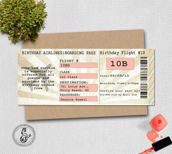 Airplane Ticket Boarding Pass Birthday Invitation: Plane Ticket Birthday Invitation Boarding By