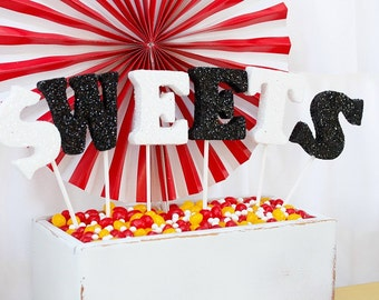 Sweets, Sweet Shoppe, Foam Letters, Glitter Letters, Black and white, Party Decorations, Centerpiece, Sweets Sign, Circus Party, Carnival,