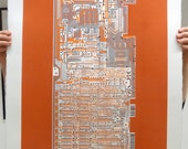 Commodore 64 (C64) screen print orange, grey, black art silkscreen circuit portrait retro computing