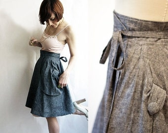 Black Friday SALE Grey Eco wrap skirt - Hemp & organic cotton denim / Custom sizing and colours available