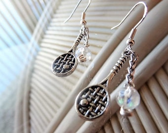 Let's Play - Tennis Racket Earrings with Crystals